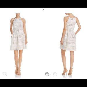 Eliza J Laser Cut White Nude Dress Size 12